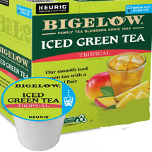 Bigelow Iced Tropical Green Tea Keurig® K-Cup® Pod Imagine the taste of green tea with exotic tropical flavors of mango and pineapple for a subtle brew as refreshing as an island breeze. Compatible with most single serve brewers including Keurig and Keurig 2.0