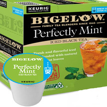 Bigelow Iced Perfectly Mint Black Tea Keurig® K-Cup® Pod. Rich, flavorful black tea is perfectly blended with just the right amount of spearmint to make a refreshing glass of iced tea unlike any other. Compatible with most single serve brewers including Keurig and Keurig 2.0