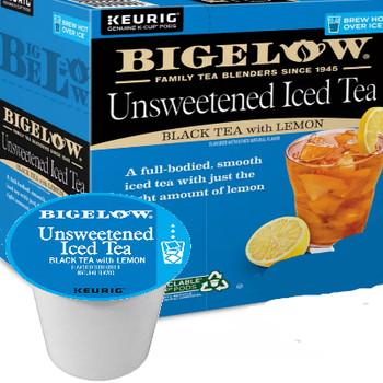 Bigelow Iced Unsweetened Black Tea with Lemon Keurig® K-Cup® Pod. There's nothing better than the taste of a fresh-brewed iced tea with lemon. Our recipe of hand-picked tea leaves from the finest gardens around the world make a high-quality fresh iced tea. Compatible with most single serve brewers including Keurig and Keurig 2.0