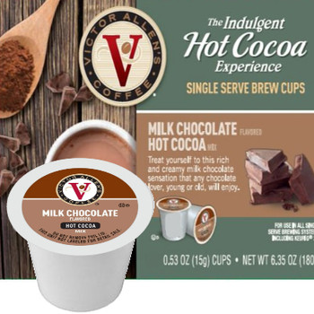 Victor Allen's Coffee Milk Chocolate Hot Cocoa Single Cup. Compatible with most single cup brewers including Keurig and Keurig 2.0