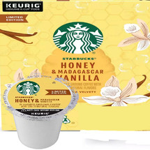 Starbucks Honey & Madagascar Vanilla Coffee K-Cup® Pod. Subtly sweet honey meet rich Madagascar vanilla. Compatible with most or all single cup brewers including Keurig® and Keurig® 2.0