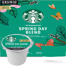 Starbucks Spring Day Blend Coffee K-Cup® Pod. Notes of rich cocoa and lush dried fruits. Compatible with most or all single cup brewers including Keurig® and Keurig® 2.0