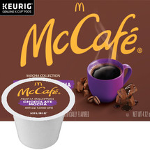 McCafe Chocolate Mocha Coffee K-Cup® Pod. Decadent chocolate flavor, combined with our specially crafted light roast. Compatible with all single cup brewers.