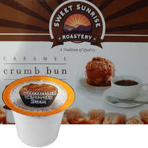 Sweet Sunrise Roastery Caramel Crumb Bun Coffee Single Cup. Compatible with all single serve brewers, including Keurig® and Keurig® 2.0.