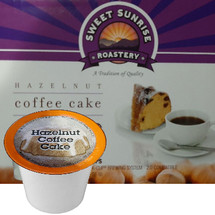 Sweet Sunrise Roastery Hazelnut Coffee Cake Coffee Single Cup. Compatible with all single serve brewers, including Keurig® and Keurig® 2.0.
