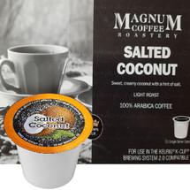 Magnum Coffee Roastery Salted Coconut Coffee Single Cup. Sweet, creamy coconut with a hint of salt. Compatible with all single serve brewers, including Keurig® and Keurig® 2.0.