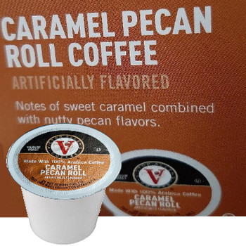 Victor Allen's Coffee Caramel Pecan Roll Coffee Single Cup. Notes of sweet caramel combined with nutty pecan flavors. Compatible with most single cup brewers including Keurig and Keurig 2.0.