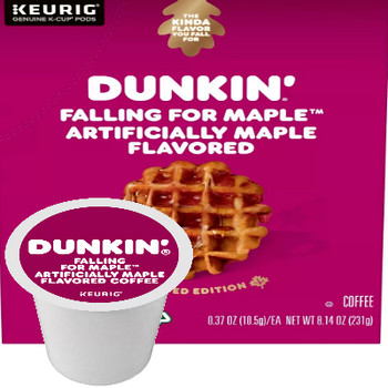 Dunkin' Falling For Maple Coffee  Keurig® K-Cup®. Sweet, rich flavors of brown sugar and maple. Compatible with most single serve brewers including Keurig and Keurig 2.0