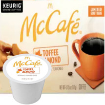 McCafe Toffee Almond Coffee K-Cup® Pod. Savor the flavors of rich, buttery toffee and sweet, roasted almonds. Compatible with all single cup brewers.