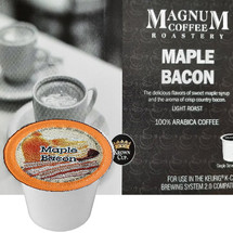 Magnum Coffee Roastery Maple Bacon Coffee Single Cup. The delicious flavors of sweet maple syrup and the aroma of crisp country bacon. Compatible with all single serve brewers, including Keurig® and Keurig® 2.0.