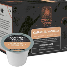 Copper Moon Caramel Vanilla Coffee Single Cup. Sweet, buttery caramel flavor with subtle hints of vanilla. Compatible with all single serve brewers, including Keurig® and Keurig® 2.0.