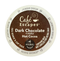 Cafe Escapes Dark Chocolate Hot Chocolate K-Cup® Pod. An elegant and satisfying dark chocolate experience, with rich European sophistication. Dark Chocolate Hot Cocoa intensity at the touch of a button! Compatible with all single serve brewers, including Keurig® and Keurig® 2.0.     Notes: This product contains milk, soy and tree nuts (highly refined coconut oil). Product is trans fat and gluten free. Caffeine content is estimated at less than 10 mg per serving (versus 100-150 mg in Arabica coffee). Contains a combination of natural and artificial sweeteners. Unlike other Green Mountain Coffee® K-Cup® products, our Café Escapes® products are NOT Kosher.