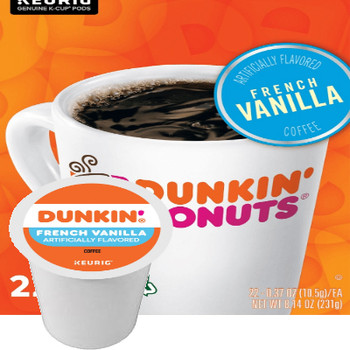 Dunkin' French Vanilla Coffee K-Cup. Dunkin' unique blend of 100% Arabica beans with the taste and aroma of sweet, smooth, creamy, buttery vanilla.