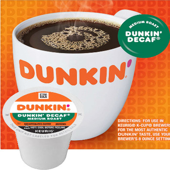 Dunkin' Decaf Coffee K-Cup. Medium roast coffee, specially blended and roasted to deliver the same great taste as the brewed Dunkin' coffee available in Dunkin' shops