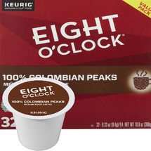 Eight O'Clock Colombian Peaks Coffee K-Cup® Pod. Full-bodied 100% colombian beans with a lingering sweet finish and rich aroma that can only be produced in Colombia's rich volcanic soil.