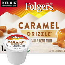 Folgers Gourmet Selections Caramel Drizzle Coffee K-Cup. Rich, creamy and buttery, this caramel coffee has everything you could want in a k-cup. Enjoy a hint of soft, smooth caramel flavor with a warm finish, and see for yourself why Caramel Drizzle is part of the Folgers Gourmet Selections line of coffees.