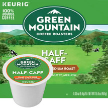 Green Mountain Half Caff Coffee K-Cup. All the flavor, half the caffeine. Perfect when you want a little late-afternoon or evening pick-me-up without a sleepless night. Compatible with most single cup brewers including Keurig and Keurig 2.0.