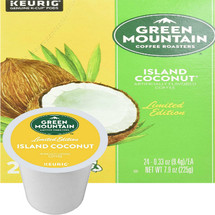 Green Mountain Island Coconut Coffee K-Cup. A quick trip to paradise. A tropical treat of sweet, creamy coconut.