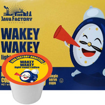 Java Factory Wakey Wakey Coffee Single Cup. Even if you're not a morning person, a cup of this coffee makes the wee hours - dare we say - enjoyable. Perfect for waking up your taste buds, this roast packs a bright, crisp taste without the slightest hint of bitterness. Compatible with all single serve brewers, including Keurig®
