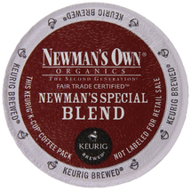Newman's Own Special Blend Coffee K-Cup® Pod. A hearty, full-bodied blend of medium and dark roasts. Bold yet refined. Strong, yet smooth. Compatible with all single serve brewers, including Keurig® and Keurig® 2.0.