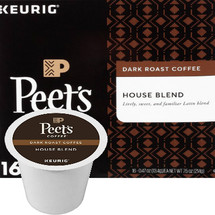 Peet's Coffee House Blend Coffee K-Cup® Pod. Bright, balanced, and medium-bodied with a pleasant hint of spice with a crisp finish. Compatible with most single cup brewers including Keurig & Keurig 2.0.