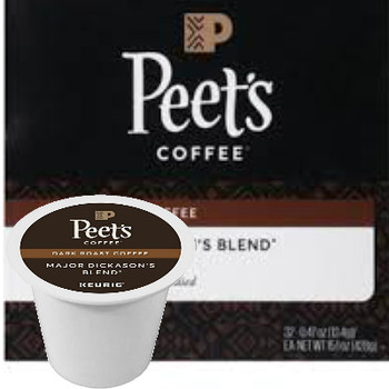 Peet's Coffee Major Dickason's Coffee K-Cup® Pod. Rich, smooth, and complex, with a very full body and multi-layered character. Compatible with most single cup brewers including Keurig & Keurig 2.0.