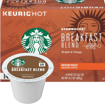 Starbucks Breakfast Blend Coffee K-Cup® Pod. Starbucks ode to sunrise.  This lighter-bodied and milder coffee features bright citrus notes that dance across your tongue, awaken your taste buds and then wash away clean.  A wonderful first cup of the day. Compatible with most or all single cup brewers including Keurig® and Keurig® 2.0