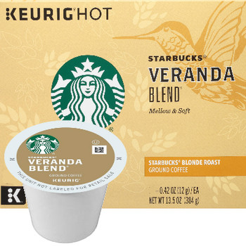 Starbucks Veranda Blend Coffee K-Cup® Pod. Forty years of coffee-roasting expertise inspired Starbucks master roasters to perfect Starbucks Blonde Roast--a lighter, gentler take on the Starbucks Roast. Roasting this blend of specially chosen Latin American beans for a shorter time allows the delicate nuances of soft cocoa and lightly toasted nuts to blossom. Flavorful without being overly bold, this coffee brews a delightfully gracious cup that's perfect for welcoming friends or greeting a new day. For use in all single cup brewers. Compatible with most or all single cup brewers including Keurig® and Keurig® 2.0