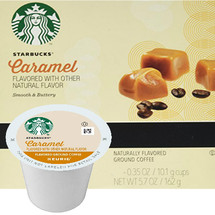 Starbucks Caramel Coffee K-Cup® Pod. A blend of luscious, Caramel. Compatible with most or all single cup brewers including Keurig® and Keurig® 2.0