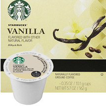 Starbucks Vanilla Coffee K-Cup® Pod. The flavor of buttery caramel combined with lightly roasted coffee.So simple. So sweet. And now with even more flavor. The taste of caramel adds just the right touch of richness to this blend of light-roasted arabica coffee and carefully selected natural ingredients top it with whipped cream and drizzle it with caramel or chocolate syrup. Compatible with most or all single cup brewers including Keurig® and Keurig® 2.0