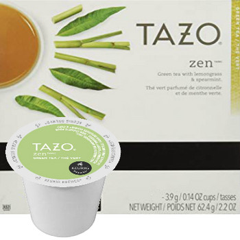 Tazo Zen Tea K-Cup® Pod. A delicately balanced blend of green tea, spearmint, lemon verbena and lemongrass. Compatible with most or all single cup brewers including Keurig® and Keurig® 2.0