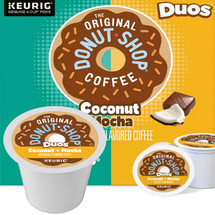The Original Donut Shop Duos Coconut + Mocha Coffee K-Cup. Coconut + Mocha Tropically tasty coconut and chocolatey mocha flavors combine to bring a tempting touch of the exotic to your every day. Compatible with most single cup brewers including Keurig and Keurig 2.0.