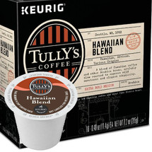 Tully's Hawaiian Blend Coffee K-Cup® Pod. Beautifully balanced, with a mild sweetness and elegant simplicity. Contains 10% Hawaiian coffee and other fine Arabica beans. Compatible with all single serve brewers, including Keurig® and Keurig® 2.0.