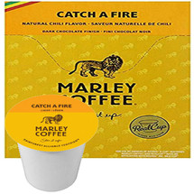 Marley Catch A Fire Coffee Single Cup. Perfectly pairing the subtle notes of dark chocolate with the sophisticated heat of chili peppers for a tantalizing taste that lingers like no other. Catch A Fire with this unique burnin' blend, featuring 100% Rainforest Alliance Certified™ coffee. description for this product here...  Compatible with all single serve brewers, including Keurig® not Keurig® 2.0.