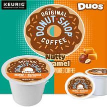 The Original Donut Shop Duos Nutty + Caramel Coffee K-Cup® Pod. Nutty + Caramel Toasted nuts and buttery caramel flavors come together in a sweet reward that's perfect for days that get a little too nutty. Compatible with all single serve brewers, including Keurig® and Keurig® 2.0.