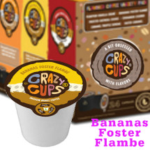 Crazy Cups Bananas Foster Flambe Coffee Single Cup. Vanilla ice cream and bananas smothered in dark rum, brown sugar and cinnamon. Compatible with all single serve brewers, including Keurig® and Keurig® 2.0.