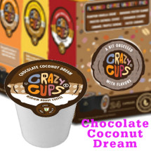 Crazy Cups Chocolate Coconut Dream Coffee Single Cup. Let the taste of luscious chocolate and creamy coconut coffee transport you to your own private island. Take a sip - you're living the dream. Compatible with all single serve brewers, including Keurig® and Keurig® 2.0.
