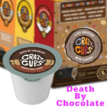 Crazy Cups Death By Chocolate Coffee Single Cup. It's coffee with chocolate taste to die for. One sip, and you're in chocolate nirvana. Compatiblie with most sigle cup brewers, including Keurig and Keurig 2.0.