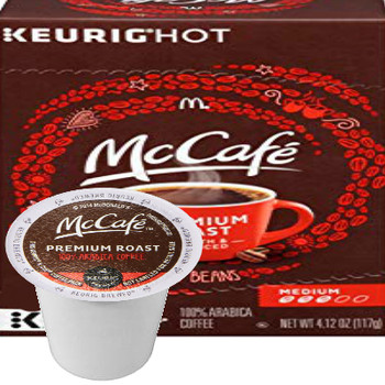 McCafe Premium Roast Coffee K-Cup® Pod. Premium roast. 100% arabica medium blend. Compatible with all single cup brewers.