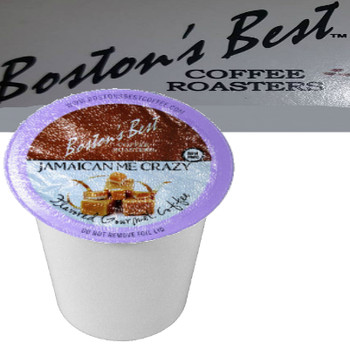 Boston's Best Coffee Roasters Jamaican Me Crazy Coffee Single Cup. Compatible with most or all single cup brewers including Keurig® and Keurig® 2.0