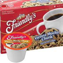 Friendly's Vienna Mocha Chunk Coffee Single Cup. Compatible with all single serve brewers, including Keurig® and Keurig® 2.0.