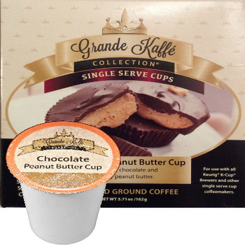 Grande Kaffe Collection Chocolate Peanut Butter Cup Coffee Single Cup. Compatible with all single serve brewers, including Keurig® and Keurig® 2.0.