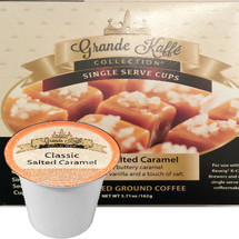 Grande Kaffe Classic Salted Caramel Coffee Single Cup. Compatible with all single serve brewers, including Keurig® and Keurig® 2.0.