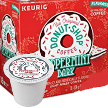 The Original Donut Shop Peppermint Bark Coffee K-Cup® Pod. This bark comes with a little peppermint bite. It's our light roast coffee dressed up with the taste of creamy white chocolate and a crushed candy cane finish. Compatible with all single cup brewers.