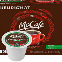 McCafe Premium Roast DECAF Coffee K-Cup® Pod. Premium roast. 100% arabica medium blend decaf. Compatible with all single cup brewers.