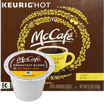McCafe Breakfast blend Coffee K-Cup® Pod. Breakfast blend. 100% arabica light blend. Compatible with all single cup brewers.
