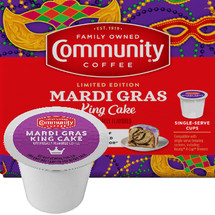 Community Coffee Mardi Gras King Cake Coffee K-Cup® Pod. The king of all flavored coffees. Enjoy this perfectly balanced blend of cinnamon and vanilla flavored coffee. Made from only 100% select Arabica coffee beans. Compatible with all single cup brewers.
