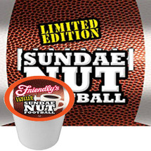 Friendly's Sundae Nut Football Coffee Single Cup Limited Edition. Vanilla, Peanut Butter and chocolate fudge. Compatible with all single serve brewers, including Keurig® and Keurig® 2.0.