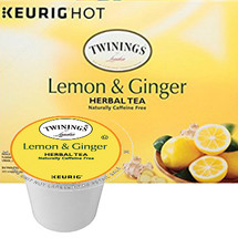 Twinings Lemon & Ginger Herbal Tea K-Cup® Pod. A comforting herbal tea expertly blended with ginger and the tangy flavor of lemon to deliver a soothing tea with a warm, inviting aroma and spiced lemon taste. Compatible with all single serve brewers, including Keurig® and Keurig® 2.0.
