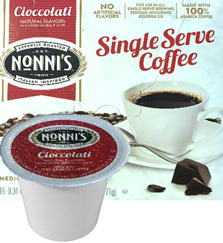 Nonni's Cioccolati Coffee Single Cup.  Compatible with most single cup brewers including Keurig and Keurig 2.0.